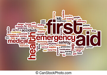 First aid word cloud with abstract background