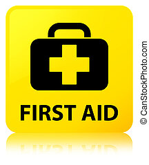 First aid yellow square button