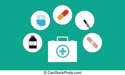 First aids and medicine HD animation - First aids suitcase...