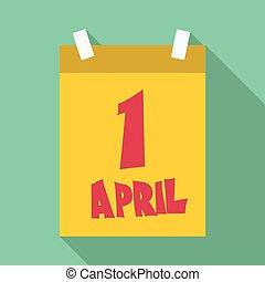 First april calendar icon, flat style - First april calendar...