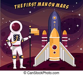 First astronaut man in spacesuit placing flag on mars