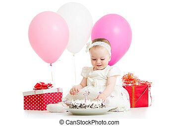first baby girl birhtday with cake