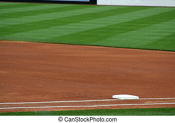 First base - an image of first base on a baseball field