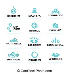 First big set of spa hot yoga zen massage logo elements vector