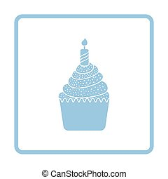 First birthday cake icon. Blue frame design. Vector...