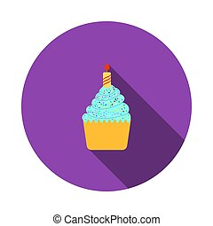 First Birthday Cake Icon. Flat Circle Stencil Design With...