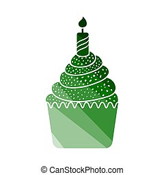 First Birthday Cake Icon. Flat Color Ladder Design. Vector...