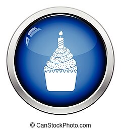 First birthday cake icon. Glossy button design. Vector...