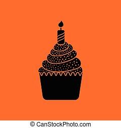 First birthday cake icon. Orange background with black....
