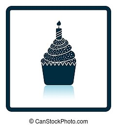 First birthday cake icon. Shadow reflection design. Vector...