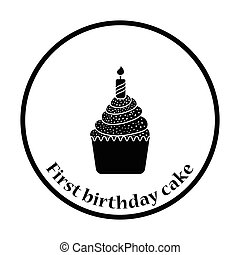 First birthday cake icon. Thin circle design. Vector...