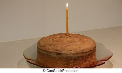 First Birthday Cake. Single birthday candle
