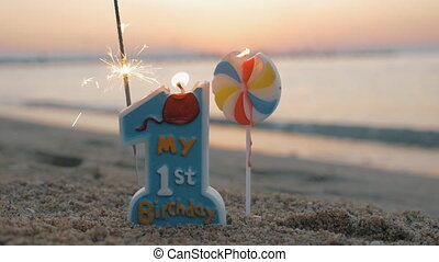 First birthday candles outdoor