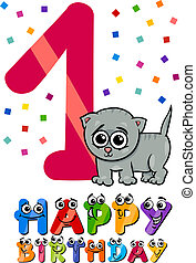 first birthday cartoon design - Cartoon Illustration of the...