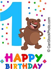 first birthday cartoon greeting card design - Cartoon...