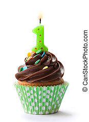 First birthday cupcake - Cupcake decorated with chocolate...