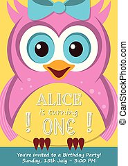 First birthday party invitation card with cute owl