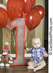 First Birthday Sign with Boy
