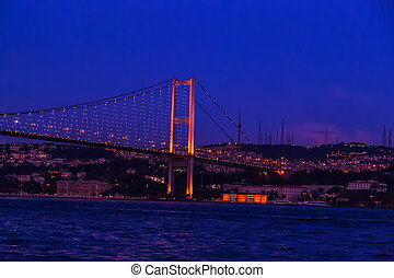 First Bosporus Bridge connecting Europe and Asia, Outdoor Istanbul city. Turkey landmark