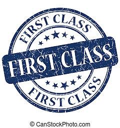 first class blue grunge stamp