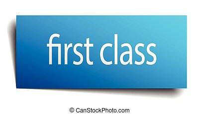 first class blue paper sign isolated on white