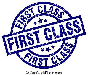 first class blue round grunge stamp