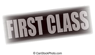 first class grunge stamp whit on vector illustration