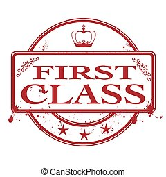 first class grunge stamp with on vector illustration
