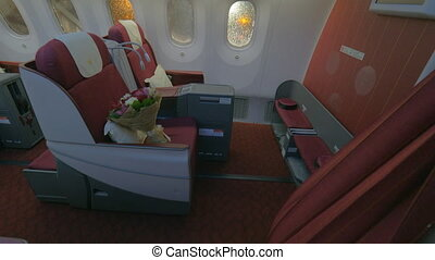 First class - jet airplane interior view - Wide steadicam...