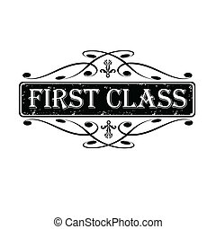 First class label, stamp calligraphic, vector illustration