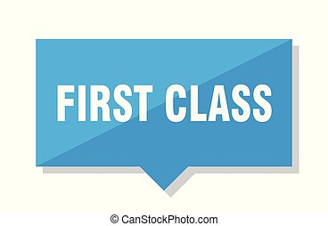 first class price tag - first class blue square price tag