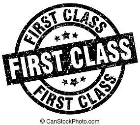first class round grunge black stamp
