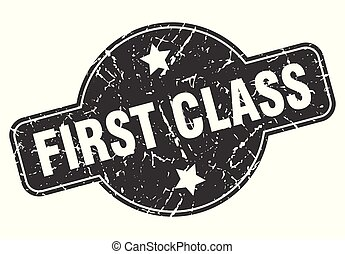 first class round grunge isolated stamp
