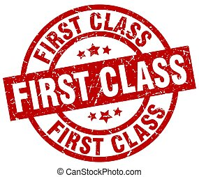 first class round red grunge stamp
