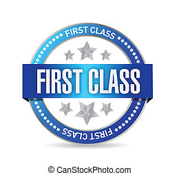 first class seal stamp illustration design over a white...