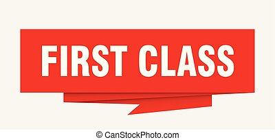 first class sign. first class paper origami speech bubble....