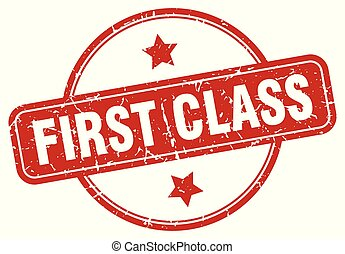 first class sign - first class vintage round isolated stamp