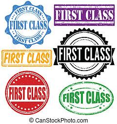 First class stamp set - First class vintage grunge rubber...