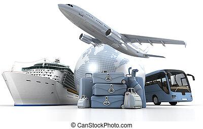 First class world tour - 3D rendering of a world globe, an...