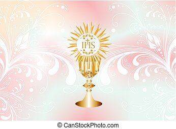 first communion, - background of the characteristic symbols...