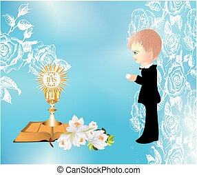 first communion, - background with a boy and characteristic...