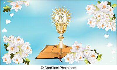 First Communion, - background with characteristic symbols...