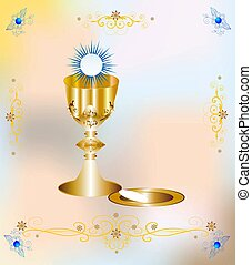 first communion, - background with characteristic symbols of...
