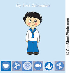 First Communion boy - First Communion Invitation Card. Boy