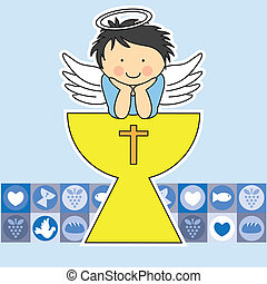 First communion card. Angel on the holy grail