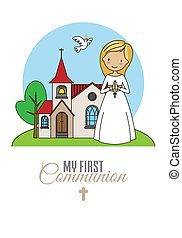 First communion card. Girl praying with church in background