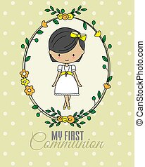 First communion card. Girl praying with flowers frame