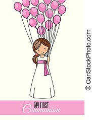 First communion card. girl with balloons