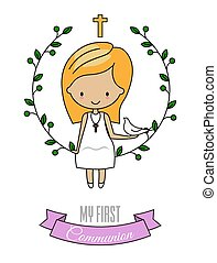 First communion card. Girl with dove