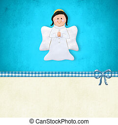 First  Communion card, happy angel